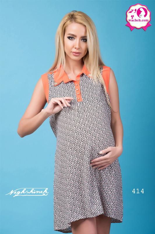 شومیز بارداری کرپ طرحدار دو یقه آستین حلقه ای جلو دکمه و شیردهی