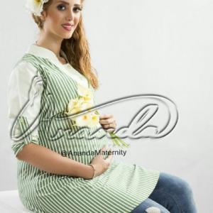 مانتو بارداری شومیز راه راه سبز