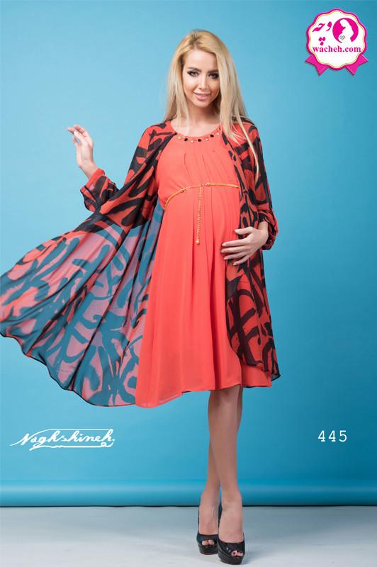 تونیک مانتویی بارداری قواره دار رویه آبشاری طرح دار