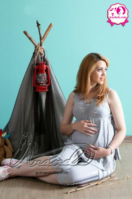 تاپ شلوارک بارداری و شیردهی ملانژ خانگی