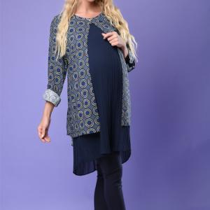 تونیک بارداری رویه کرپ طرحدار زیر پلیسه