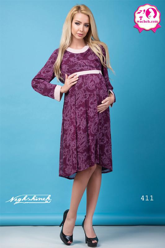 تونیک بارداری حریر طرحدار جلو پیله نگین سوس