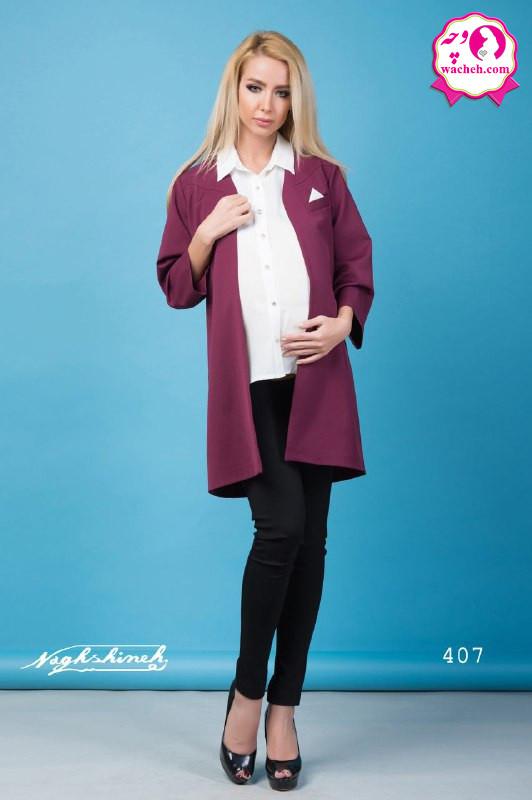 کت کرپ بارداری مازراتی همراه با شومیز آستین حلقه ای جلو دکمه دار و شیردهی