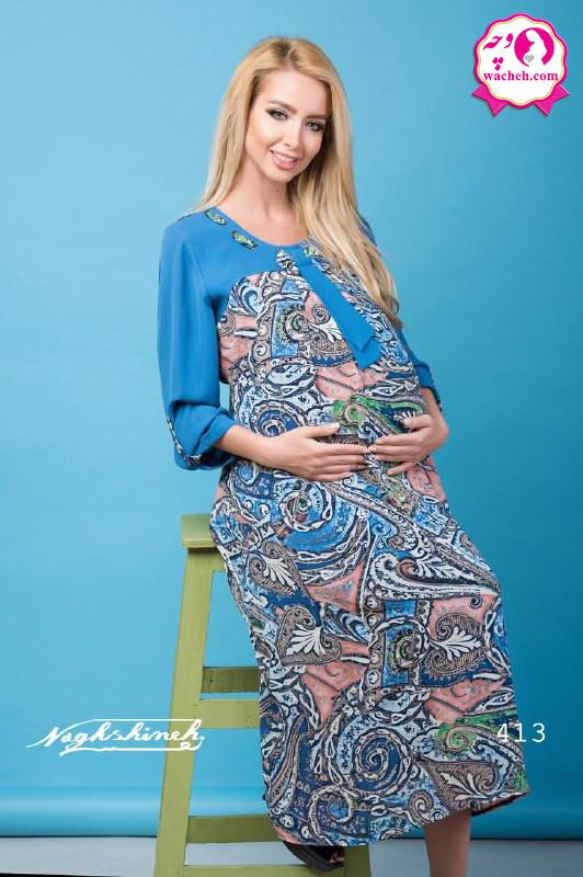 پیراهن بارداری حریر طرح داریقه پرچ پاپیونی