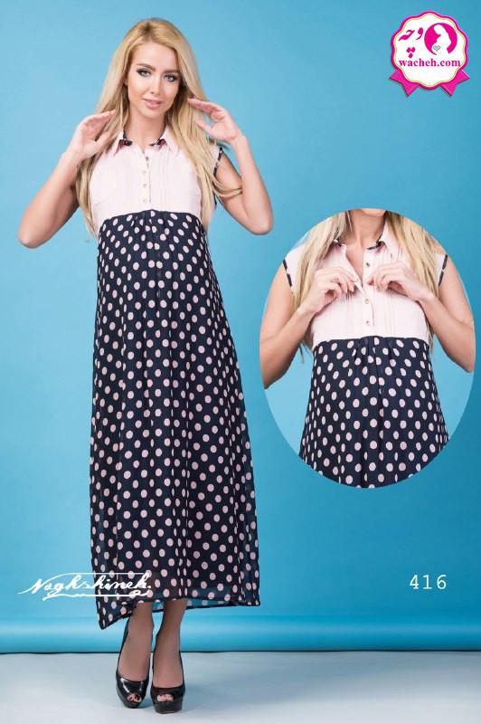 پیراهن و سارافون بارداری وشیردهی آستین حلقه ای کرپ دو جیب پایین حریر توپ طرح دار جلو دکمه