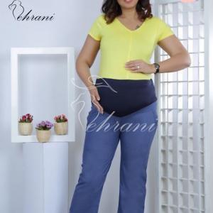 شلوار بارداری جین کاغذی نارین دمپا گشاد